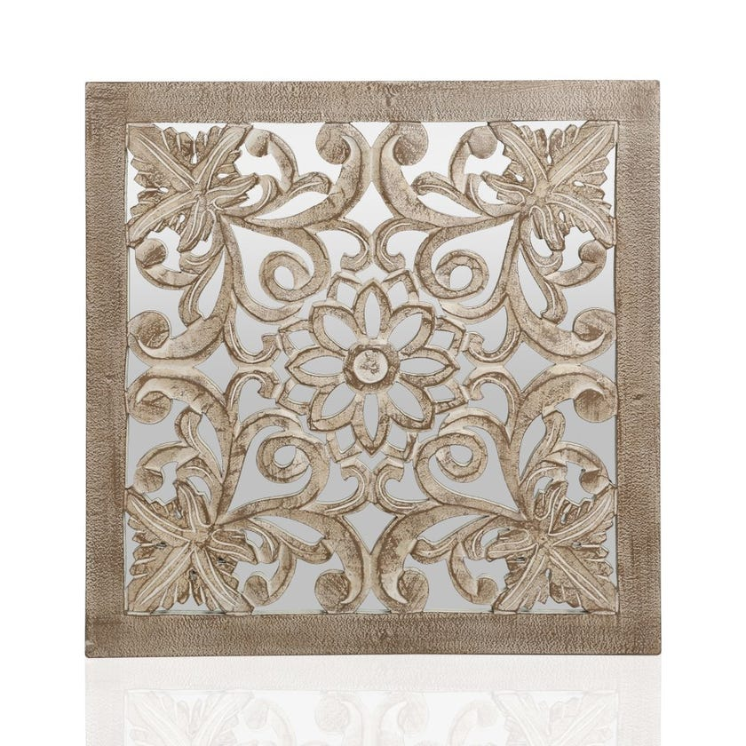Framed Wooden Wall Panel with Mirror, White Brown - 60x60 cms