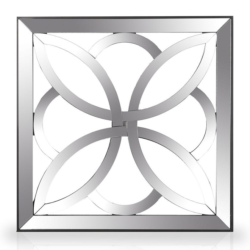 Floral Square Wall Mirror, Natural