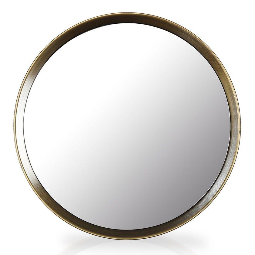Circular Wall Mirror, Natural and Wood