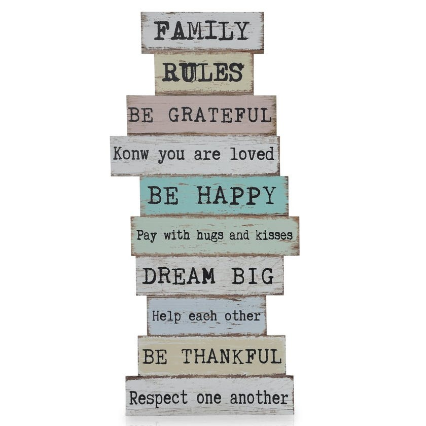Family Rules Word Frame, Multicolour – 80x37 cms