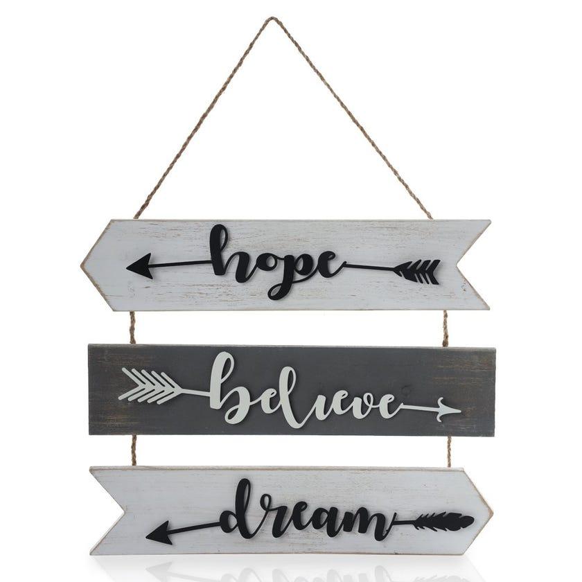 Hope Believe Dream Word Frame, Multicolour – 40x57 cms