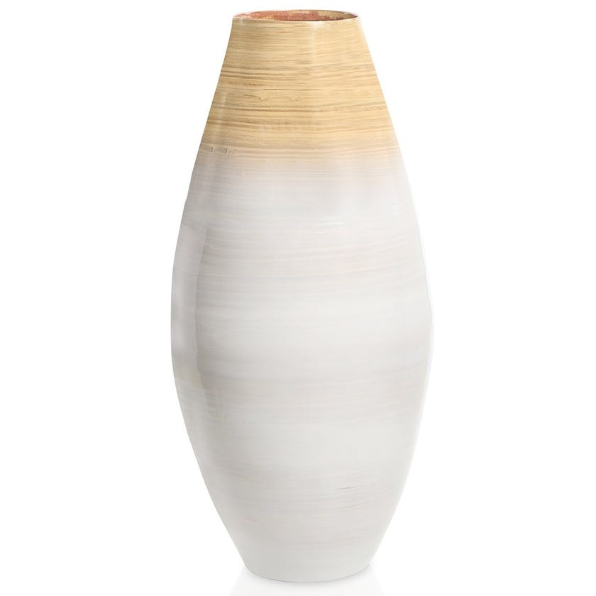 Blush Bamboo Vase, White & Natural – Large, 60 cms