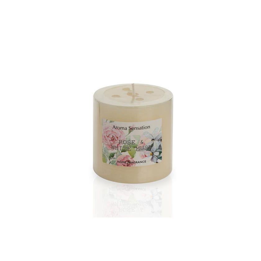 Rose and White Musk Pillar Candle, 6.8 x 7 cms