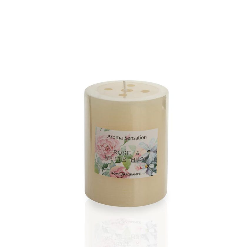 Rose and White Musk Pillar Candle, 6.8 x 9 cms