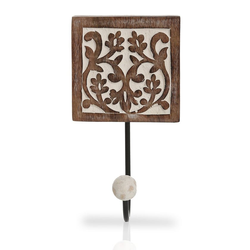 Ethnic Wall Hook with Ball, Multicolour