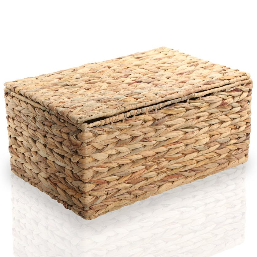 Water Hyacinth Basket with Lid, Natural – 43x20 cms