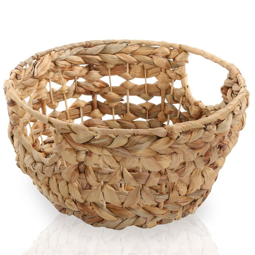 Water Hyacinth Round Basket, Natural – 29x14 cms