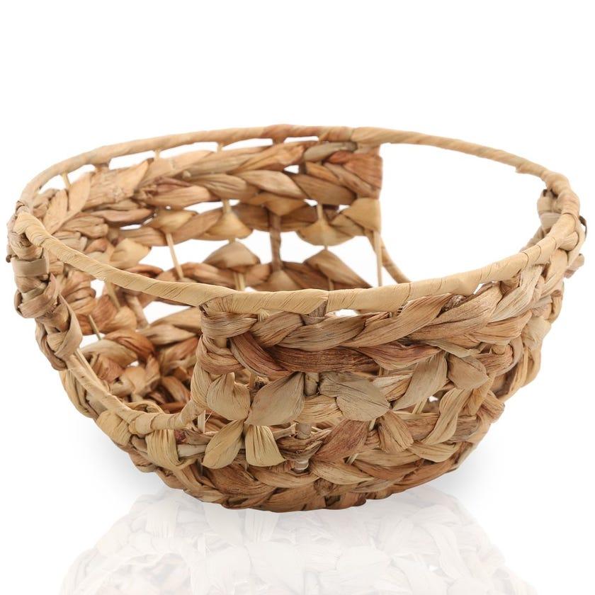 Water Hyacinth Round Basket, Natural – 22x10 cms