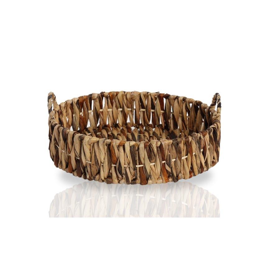 Hyacinth Round Basket, Midnight Navy - Large