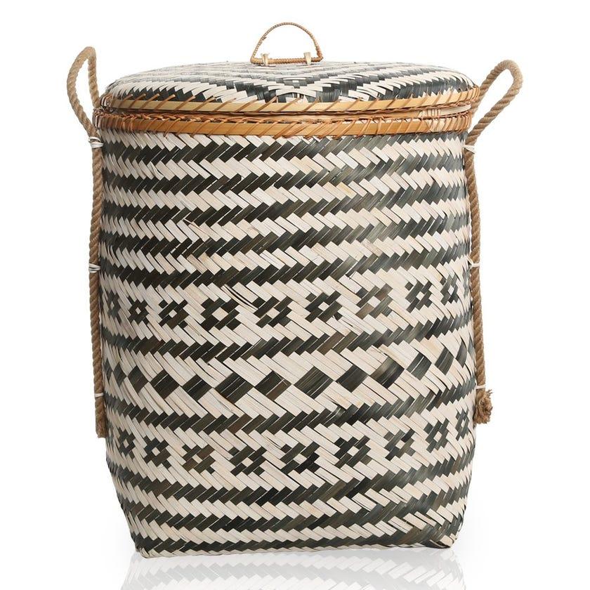 Grey Sand Bamboo Storage Basket, Multicolour – 50x62 cms