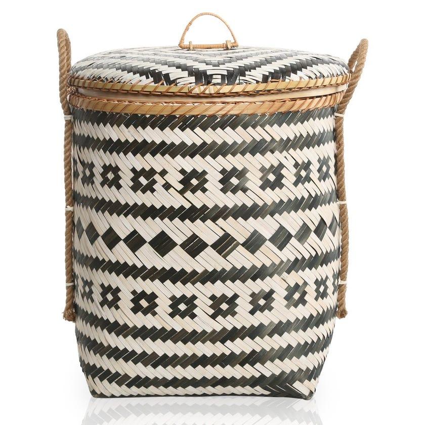 Grey Sand Bamboo Storage Basket, Multicolour – 45x52 cms