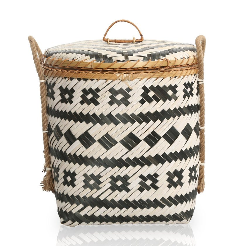 Grey Sand Bamboo Storage Basket, Multicolour – 38x42 cms
