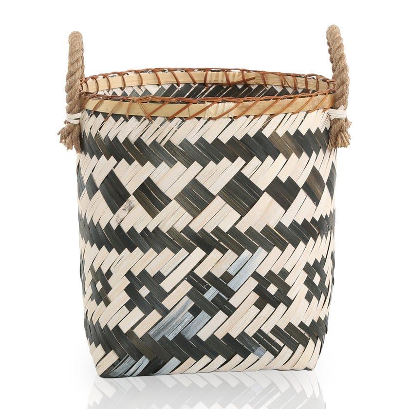 Grey Sand Weaving Storage Basket, Multicolour – 25x33 cms