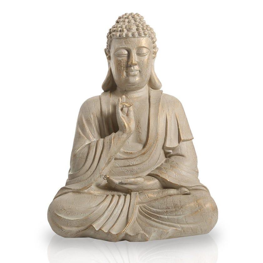 Sitting Buddha Figurine, Cream - 34.5 cms