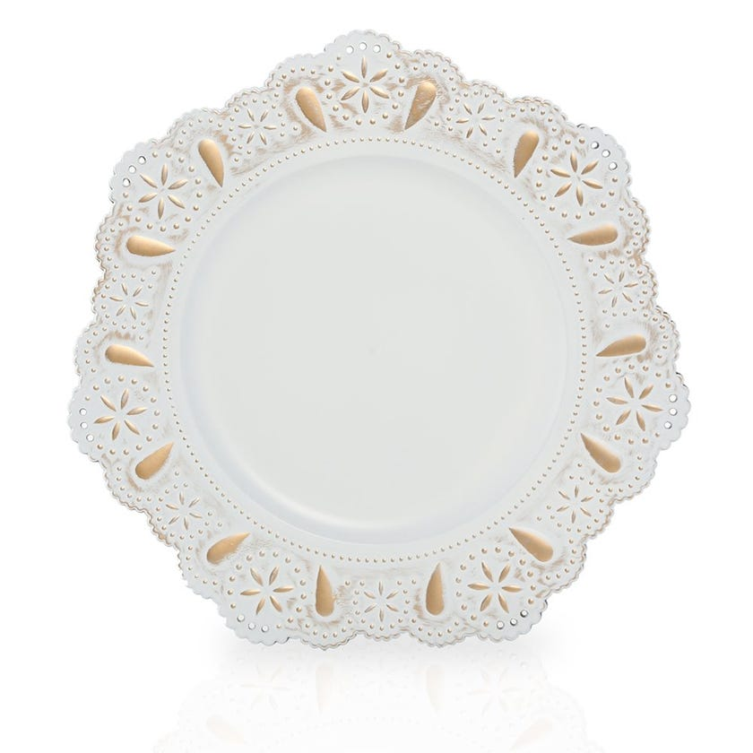 Erget Charger Plate, White and Gold