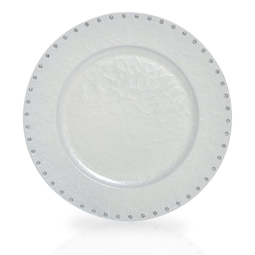 Pristine Mother of Pearl Charger Plate, White