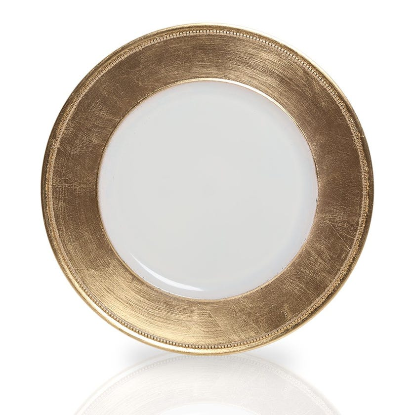 Elfine Charger Plate, Gold and White