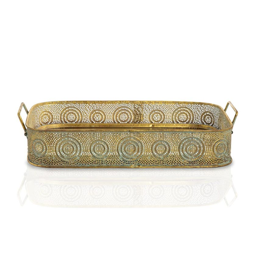 Abia Rectangle Tray (38.5 x 23.5 x 7 cms, Gold Blue)