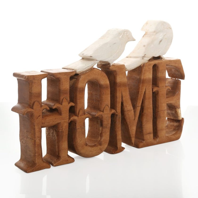 Wooden Home with Birds Décor Piece, Natural & White