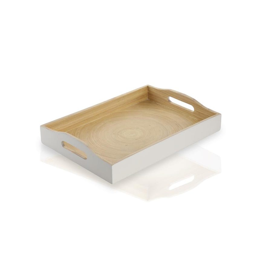 Show White Bamboo Tray, Small