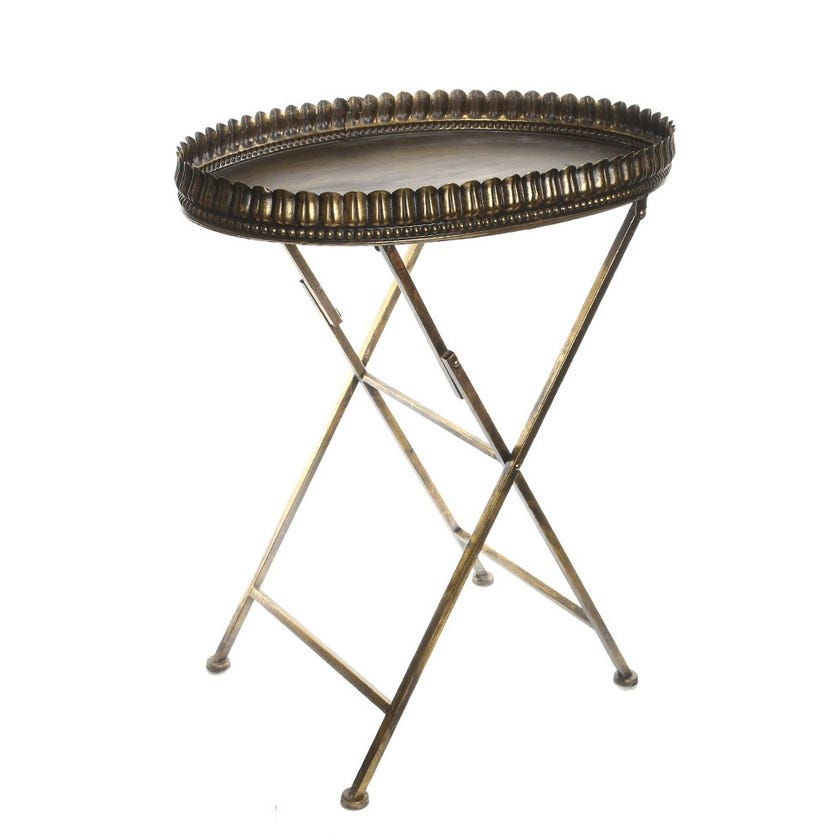 Marzipan Metal Table, Antique Gold