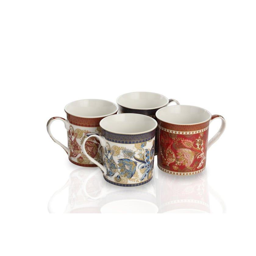 Geometric Porcelain Mug Gift Set - 4 Pieces, Leaves, 300 ml