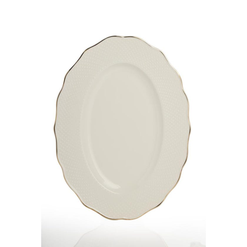 Viva Porcelain Oval Platter - Gold (34 cms)