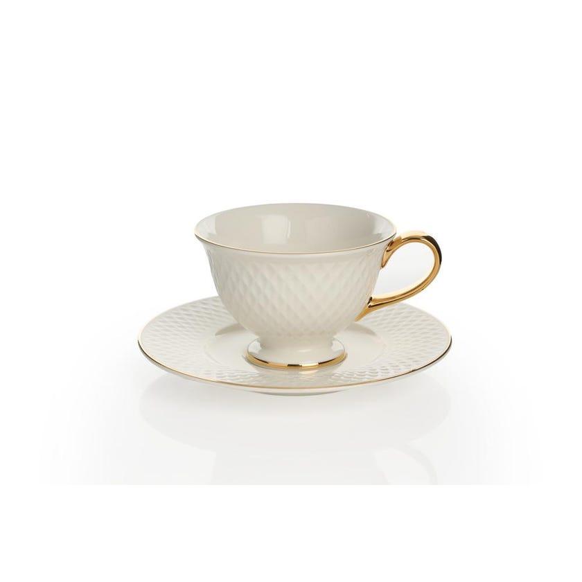 Eclat Porcelain Teacup & Saucer - Gold