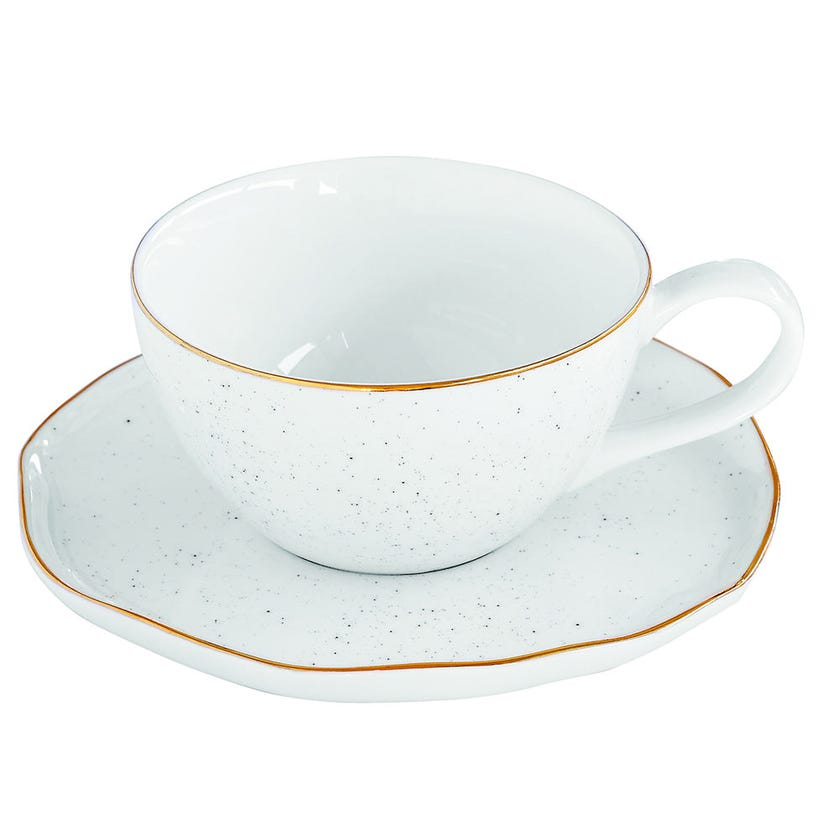 Artesanal Porcelain Tea Cup and Saucer - White