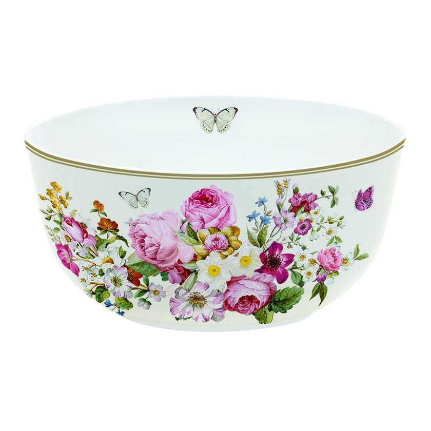 Blooming Opulence Cream Bowl, Multicolour – 14 cms