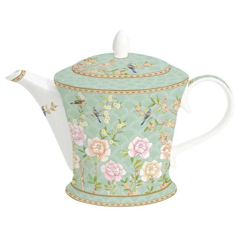 Palace Garden Aqua Bone China Teapot, Multicolour – 1L