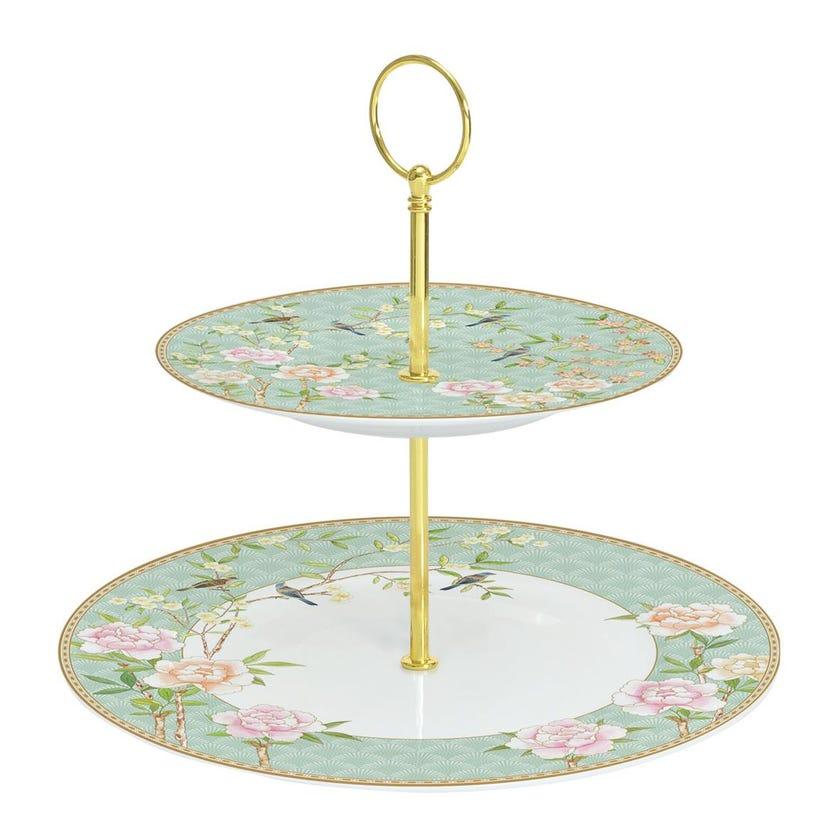 Palace Garden Aqua 2-Tier Cake Plate, Multicolour