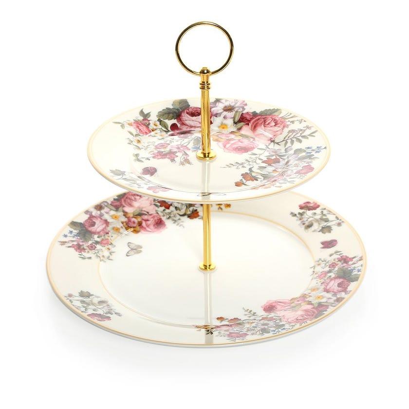 Blooming Opulence Cream 2-Tier Cake Plate, Multicolour