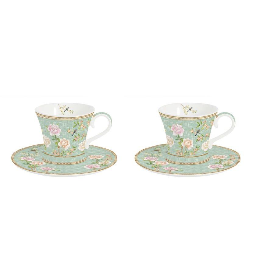 Palace Garden Aqua Coffee Cup & Saucer, Multicolour – Set of 2, 80ml