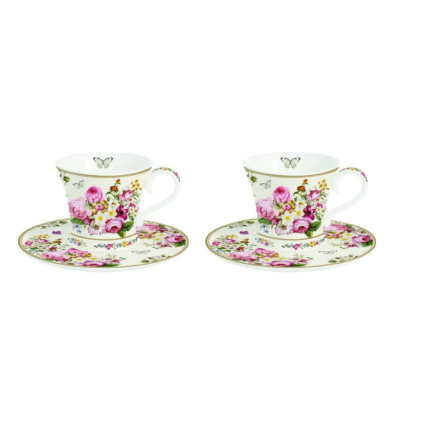 Blooming Opulence Cream Coffee Cup Set, Multicolour – 80ml