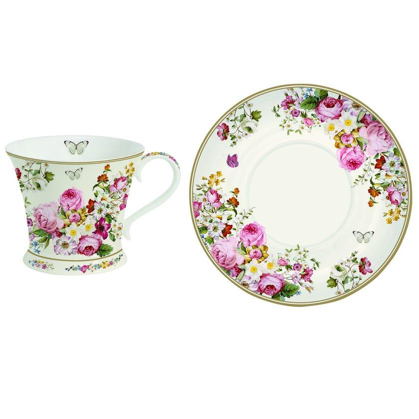 Blooming Opulence Cream Teacup & Saucer, Multicolour – 180ml
