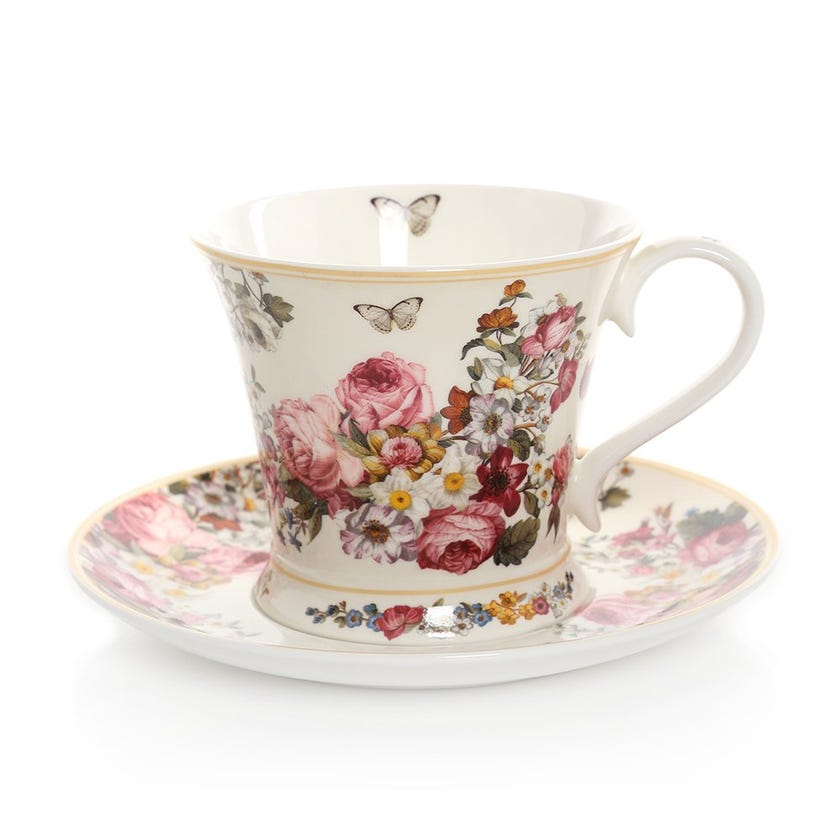 Blooming Opulence Cream Breakfast Cup & Saucer, Multicolour – 300ml