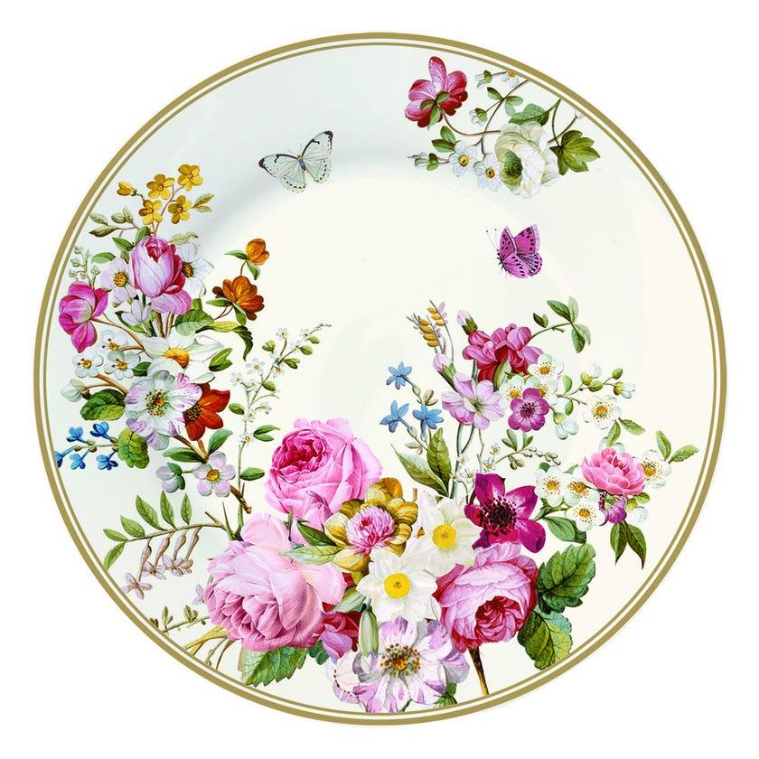 Blooming Opulence Cream Dessert Plate, Multicolour – 19 cms