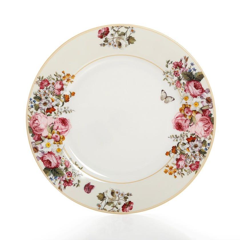 Blooming Opulence Cream Dinner Plate, Multicolour – 27 cms