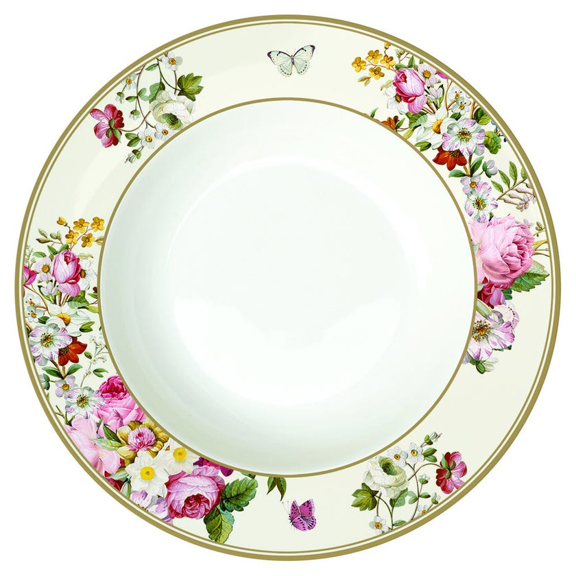 Blooming Opulence Cream Soup Plate, Multicolour – 22.5 cms