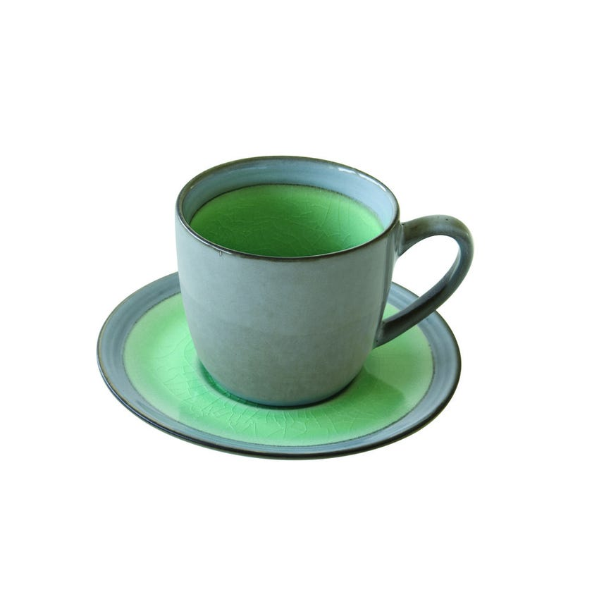Stoneware Teacup and Saucer, Green