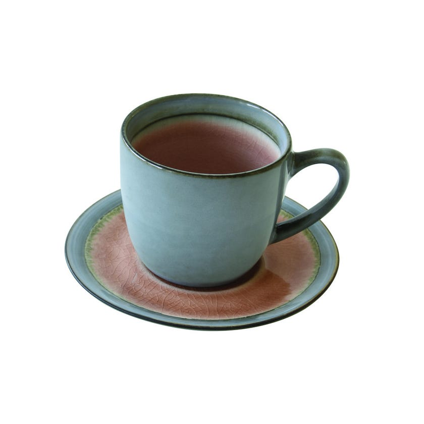 Stoneware Teacup and Saucer, Dusty Pink