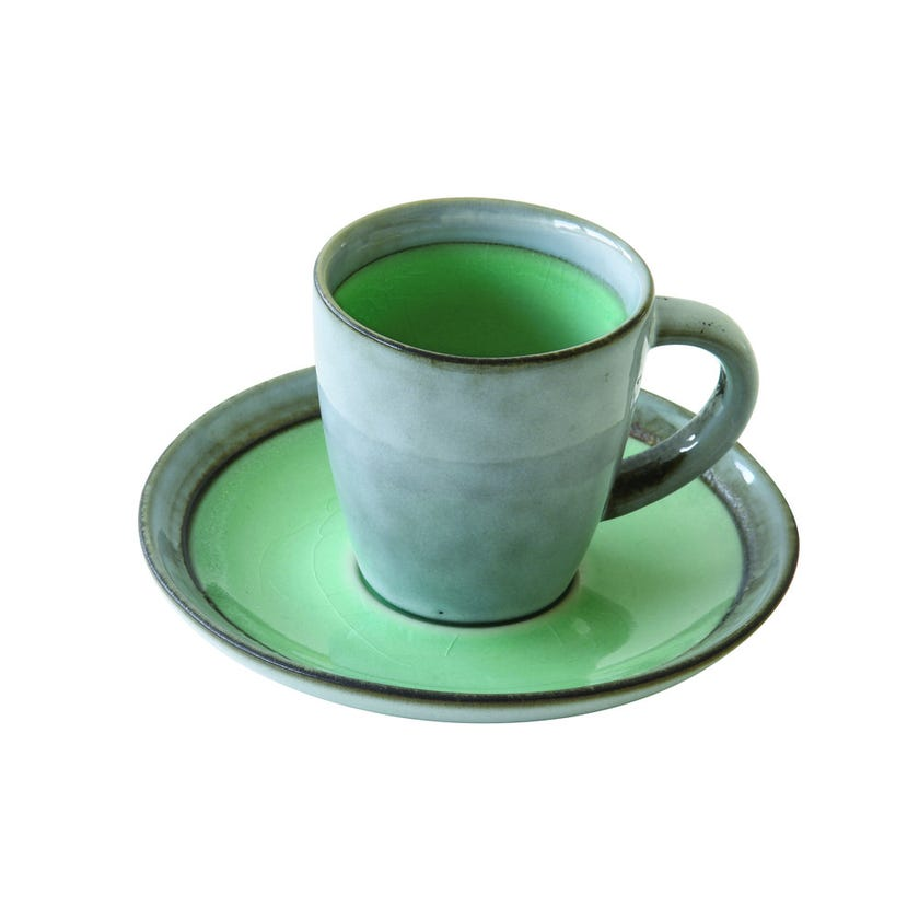 Stoneware Espresso Cup and Saucer, Green