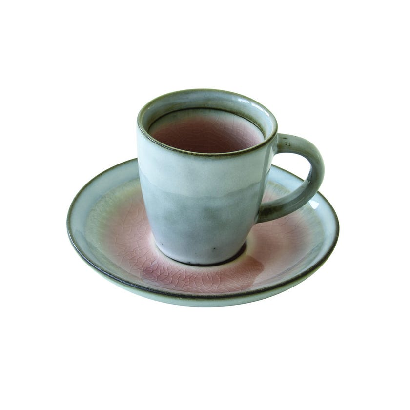 Stoneware Espresso Cup and Saucer, Dusty Pink