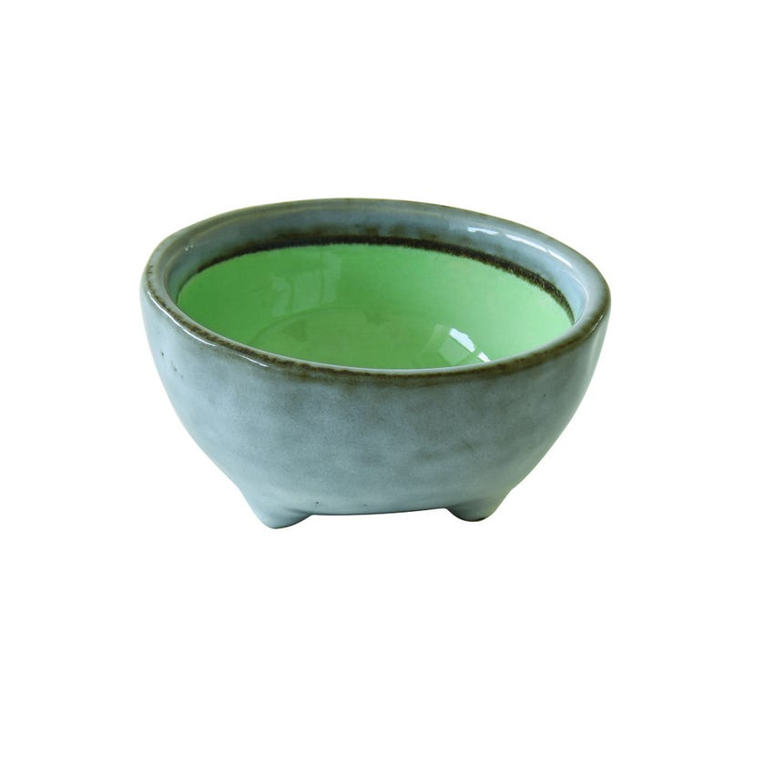 Stoneware Bowl With Legs, Green