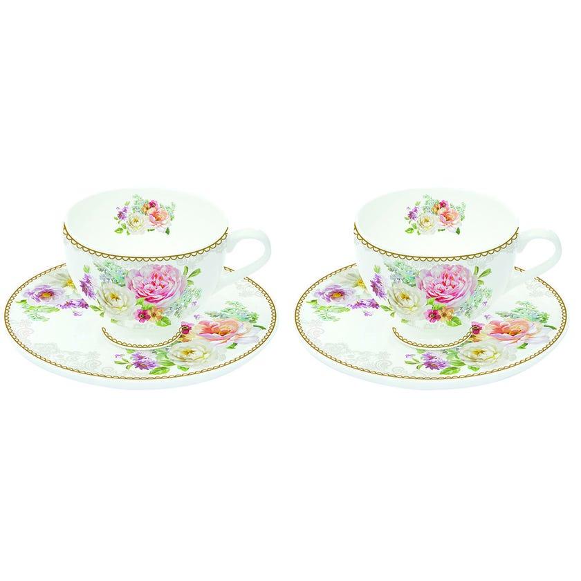 Romantic Lace 2-Piece Espresso Cup and Saucer Set