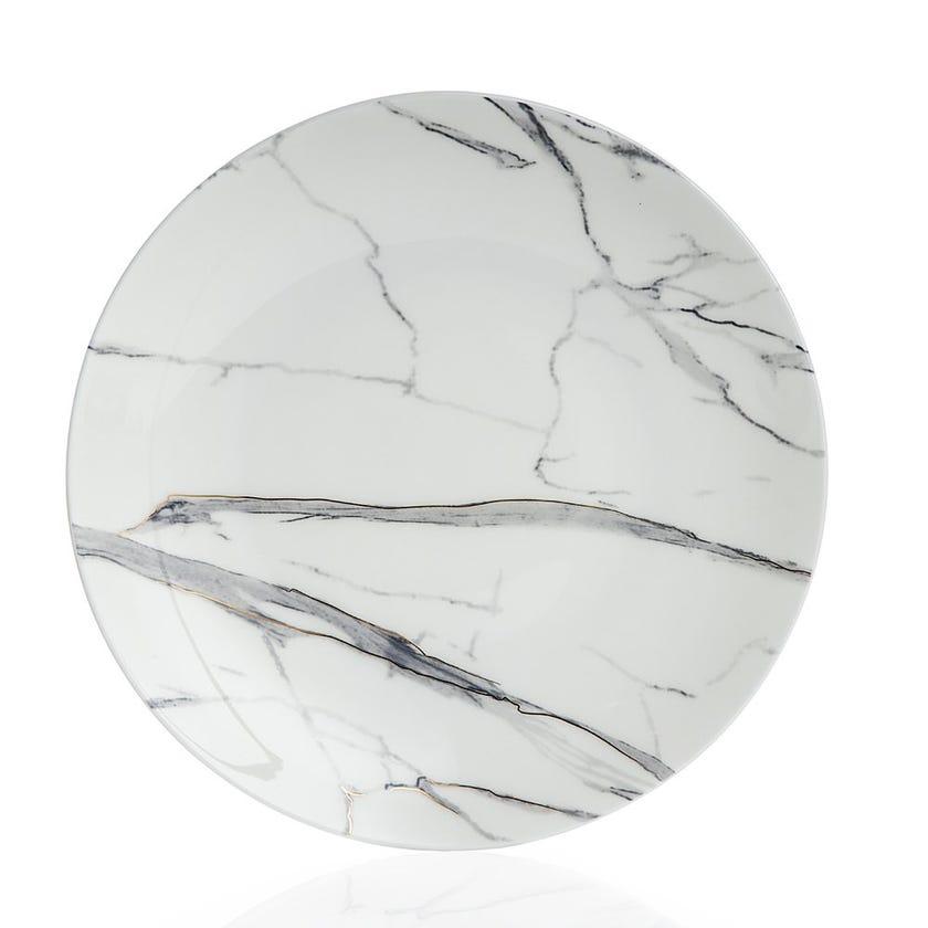 Durable Porcelain Dinner Plate, Marble - 27 cms