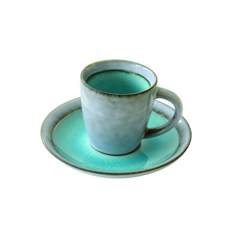 Stoneware Expresso Cup and Saucer, Blue