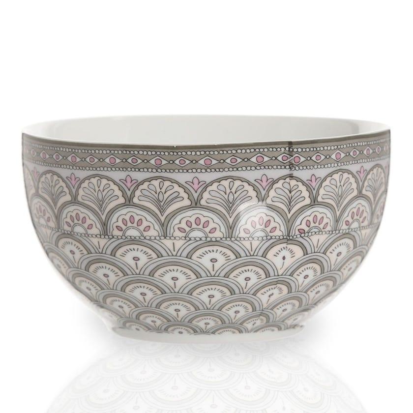 Kalamkari Porcelain Bowl, Sage Green