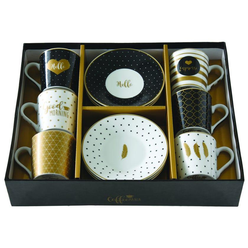 Coffee Mania Porcelain Espresso Cup & Saucer Set - 6 Pieces, Heart & Dots, 100 ml